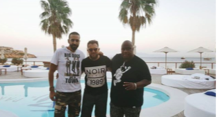 Can Bener, Jimmy Moritz (Manager, Booking Agent), Dj Ron Carroll in Mykonos, Greece